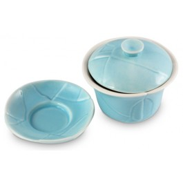 Crackle 120 mL Oriental Tea Cup -Blue